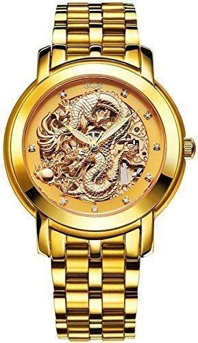 Angela Bos Herren ausgehoehlten Chinese Dragon Fashion Mechanische Wasserdicht Armbanduhr Gold Zifferblatt Edelstahl Band