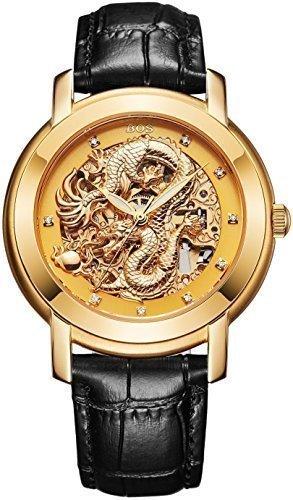 Angela Bos Herren ausgehoehlten Chinese Dragon Fashion Mechanische Wasserdicht Armbanduhr Gold Zifferblatt schwarz Kalbsleder Band
