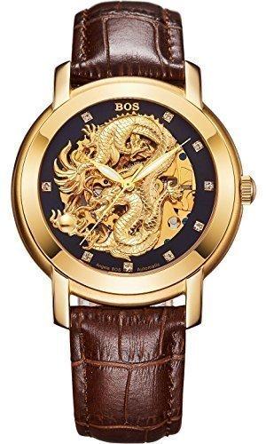 Angela Bos Herren ausgehoehlten Chinese Dragon Fashion Mechanische Wasserdicht Armbanduhr Schwarz Zifferblatt braun Kalbsleder Band