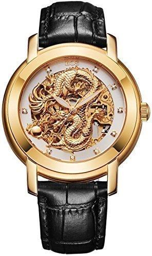 Angela Bos Herren ausgehoehlten Chinese Dragon Fashion Mechanische Wasserdicht Armbanduhr Weiss Zifferblatt schwarz Kalbsleder Band