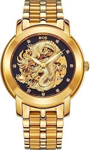 Angela Bos Herren ausgehoehlten Chinese Dragon Fashion Mechanische Wasserdicht Armbanduhr Schwarz Zifferblatt Edelstahl Band