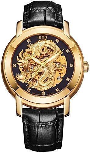 Angela Bos Herren ausgehoehlten Chinese Dragon Fashion Mechanische Wasserdicht Armbanduhr Schwarz Zifferblatt Schwarz Kalbsleder Band