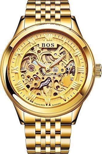 Angela Bos Automatische Skelett Armbanduhr fuer Herren selbstaufziehend Gold Armband aus Edelstahl