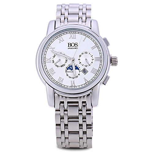 Leopard Shop Angela BOS 8008 G Herren roemischen Ziffern Display Drei Arbeiten Zifferblaetter zur Datum Armbanduhr Weiss