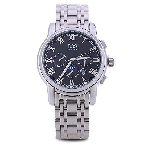 Leopard Shop Angela BOS 8008 G Herren roemischen Ziffern Display Drei Arbeiten Zifferblaetter zur Datum Armbanduhr Schwarz