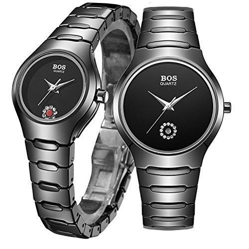 Angela BOS HIS und HERS keine Ziffern Massstab Keramik Quarz Schwarz Paar Armbanduhr Wasserdicht Ultrathin Case Schutzhuelle