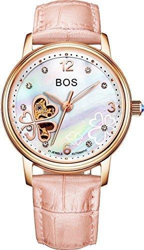 Angela BOS Damen Fashion Automatische Mechanische Wasserdicht Leder Bracklet Taille Uhren Gold Fall Pink