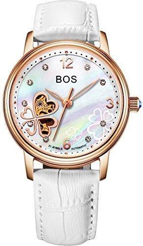 Angela BOS Damen Fashion Automatische Mechanische Wasserdicht Leder Bracklet Taille Uhren Gold Fall weiss