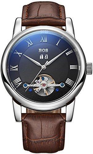 Angela BOS Herren Fashion Automatische Mechanische Wasserdicht Schwarz Zifferblatt Silber Fall Braun Band Taille Uhren