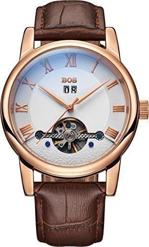 Angela BOS Herren Fashion Automatische Mechanische Wasserdicht Weiss Zifferblatt Gold Fall Braun Band Taille Uhren