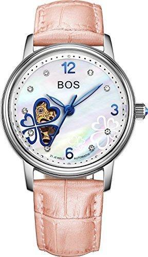 Angela BOS Damen Fashion Automatische Mechanische Wasserdicht Leder Bracklet Taille Uhren Silber Fall Pink