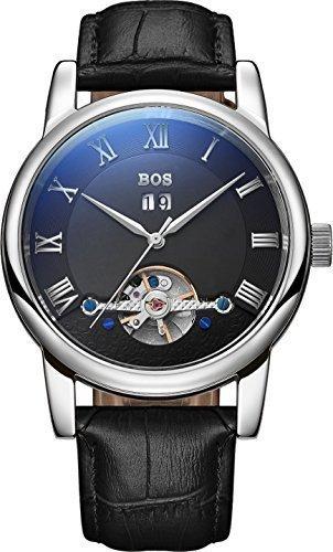 Angela BOS Herren Fashion Automatische Mechanische Wasserdicht Schwarz Zifferblatt Silber Fall Schwarz Band Taille Uhren