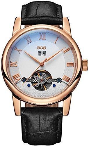 Angela BOS Herren Fashion Automatische Mechanische Wasserdicht Weiss Zifferblatt Gold Case Schwarz Band Taille Uhren
