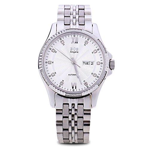 Leopard Shop Angela BOS 9012 G Herren Automatische Wind Mechanische Uhr Luminous Pointer 3 ATM Datum Tag Kuenstliche Diamant Zifferblatt Armbanduhr Weiss