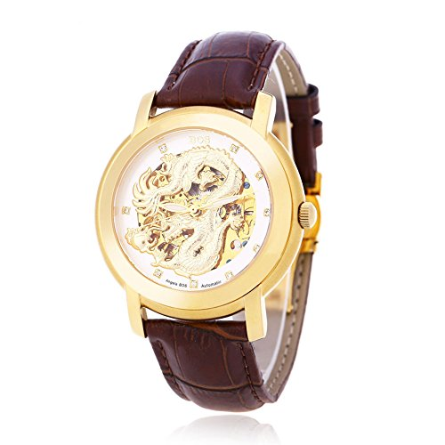 Leopard Shop Angela BOS 9007 G Herren Automatische Wind Mechanische Uhr Dragon Muster 3 ATM Luminous Kuenstliche Diamant Zifferblatt Armbanduhr 4