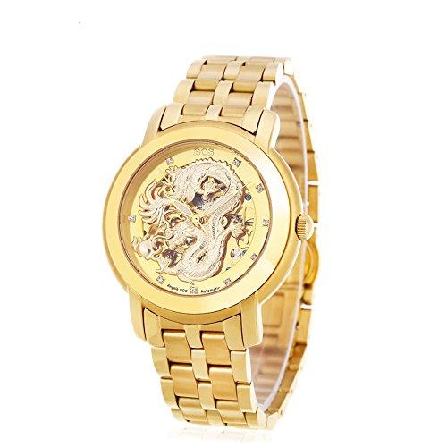 Leopard Shop Angela BOS 9007 G Herren Automatische Wind Mechanische Uhr Dragon Muster 3 ATM Luminous Kuenstliche Diamant Zifferblatt Armbanduhr 2