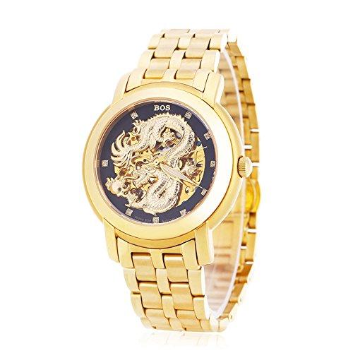 Leopard Shop Angela BOS 9007 G Herren Automatische Wind Mechanische Uhr Dragon Muster 3 ATM Luminous Kuenstliche Diamant Zifferblatt Armbanduhr 3