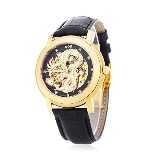 Leopard Shop Angela BOS 9007 G Herren Automatische Wind Mechanische Uhr Dragon Muster 3 ATM Luminous Kuenstliche Diamant Zifferblatt Armbanduhr 6