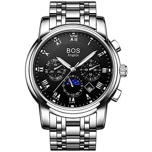 Angela BOS Herren Analog Handgelenk Chronograph Schwarz Armbanduhr mit Edelstahl Link Armband 901