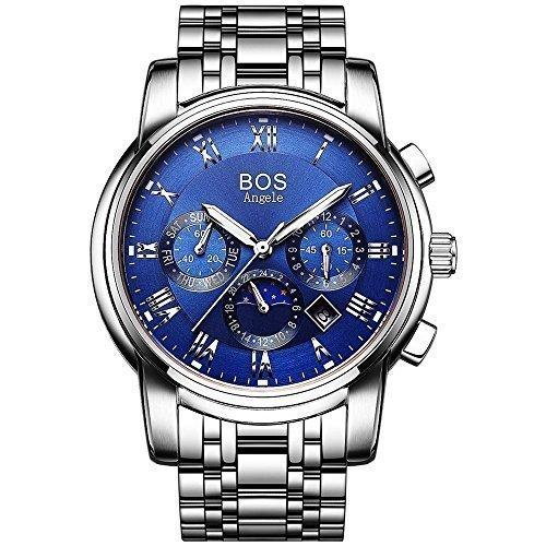 Angela BOS Herren Analog Handgelenk Chronograph Blau Armbanduhr mit Edelstahl Link Armband 9011