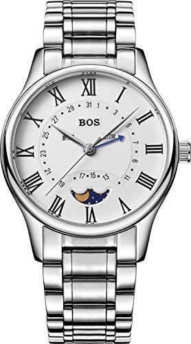 Angela BOS Herren Business Quarz Wasserdicht Weiss Zifferblatt Edelstahl Band Taille Uhren