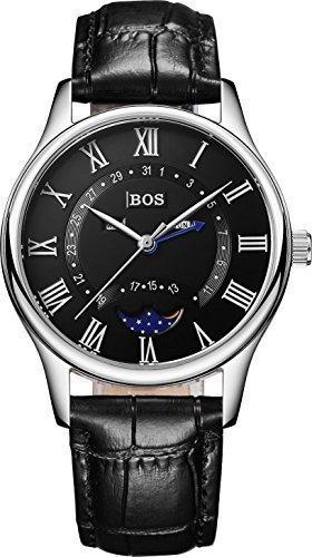 Angela BOS Herren Business Quarz Wasserdicht Schwarz Zifferblatt Schwarz Kalbsleder Band Taille Uhren 8002 G