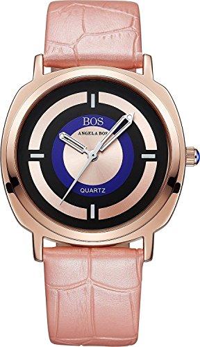 Angela BOS Damen Japanisches Quarz anolog beleuchtet Pointer Armbanduhr Schnalle Leder Handgelenk Band 8007 Pink
