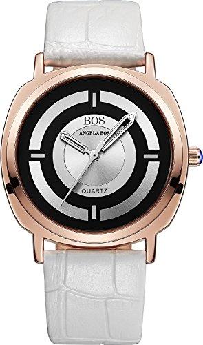 Angela BOS Damen Japanisches Quarz anolog beleuchtet Pointer Armbanduhr Schnalle Leder Handgelenk Band 8007 Weiss