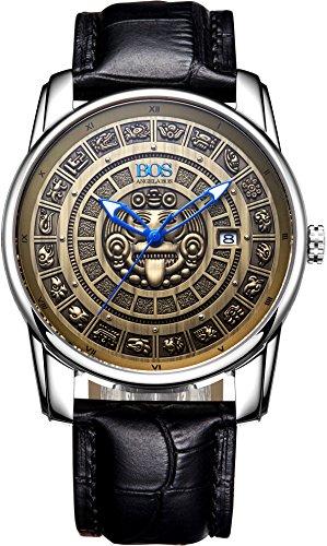 Angela BOS Herren Bronze Citizen Mechanische Bewegung Vintage Armbanduhr Kalbsleder Band Gold 9018