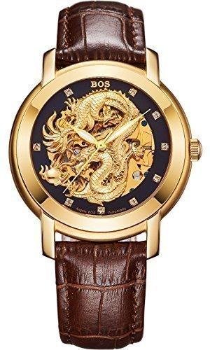 Angela BOS Herren Dragon Collection Luxury Geschnitzte Vorwahlknopf automatische mechanische Kalbsleder wasserdichte Golduhr