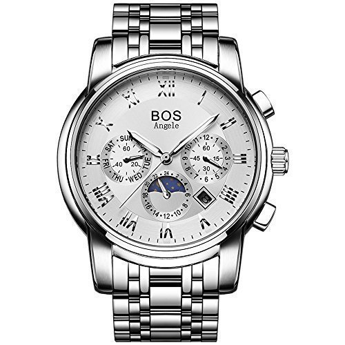 Angela BOS Herren Wasserdicht Handgelenk Chronograph Weiss Armbanduhr mit Edelstahl Link Armband 9011