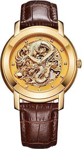 Angela Bos modisches Design mit chinesischem Drachen mechanisch wasserdicht goldfarbenes Zifferblatt braunes Armband aus Kalbsleder