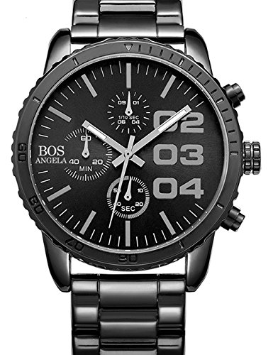 Angela Bos Mens Chronograph Analog Quartz Wrist Watch Black Dial Stainless Steel Bracklet 8013 Black