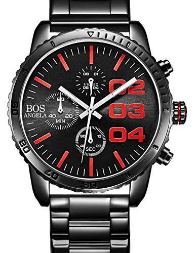 Angela Bos Mens Chronograph Analog Quartz Wrist Watch Black Dial Stainless Steel Bracklet 8013 Red