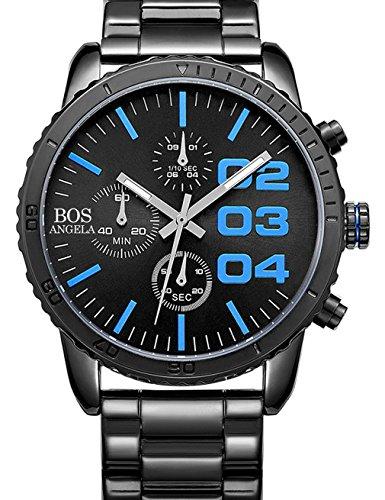 Angela Bos Mens Chronograph Analog Quartz Wrist Watch Black Dial Stainless Steel Bracklet 8013 Blue