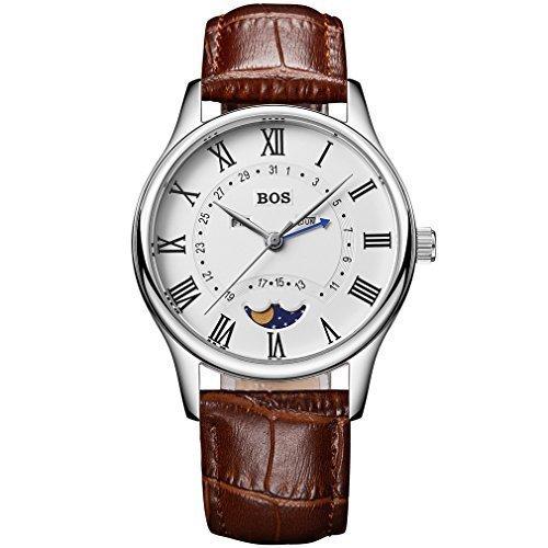 Angela Bos Herren Armbanduhr Quarz Wasserdicht Weisses Zifferblatt braunes Armband Edelstahl