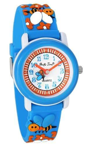 Pacific Time Kinder-Armbanduhr Bienen Analog Quarz blau 20041