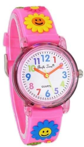 Pacific Time Kinder-Armbanduhr froehliche bunte Blumen Analog Quarz pink 20042