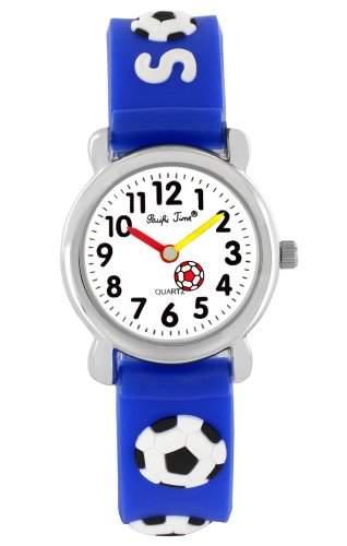 Pacific Time Kinder-Armbanduhr Soccer Fussball Analog Quarz blau 20073