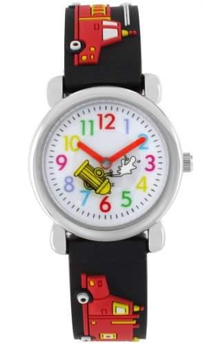 Pacific Time Kinder-Armbanduhr Auto Feuerwehr Analog Quarz schwarz 20076