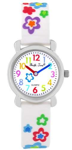 Pacific Time Kinder-Armbanduhr Blumen Analog Quarz weiss 20080