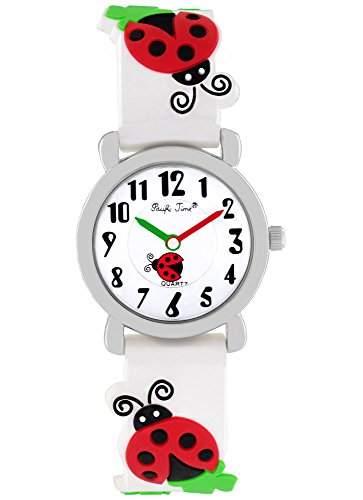 Pacific Time Kinder-Armbanduhr Marienkaefer Gluecksklee Analog Quarz weiss 20081
