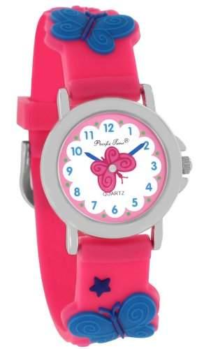 Pacific Time Kinder-Armbanduhr Schmetterlinge Analog Quarz pink 20099