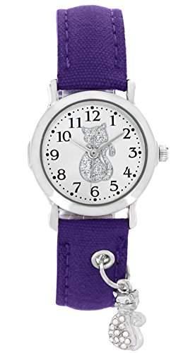 Pacific Time Kinder-Armbanduhr fuer Maedchen und Teenager Katze Strass Anhaenger Charm Textilarmband Analog Quarz violett lila 20177