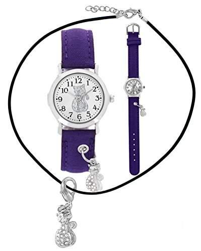Pacific Time SET Kinder-Armbanduhr + Kette fuer Maedchen und Teenager Katze Strass Anhaenger Charm Textilarmband Analog Quarz violett lila 201771