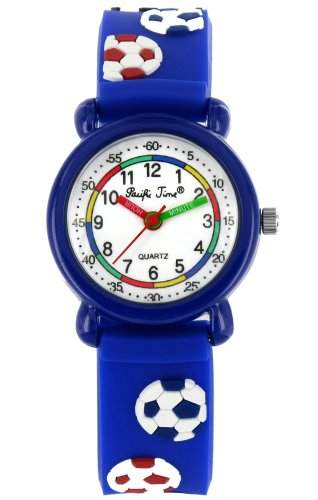 Pacific Time Kinder-Armbanduhr Fussball Analog Quarz blau 20273