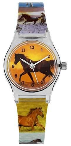 Pacific Time Kinder-Armbanduhr Pferd Sonnenuntergang Analog Quarz mehrfarbig 20335