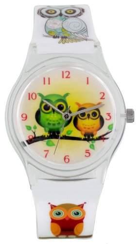 Pacific Time Damen-Armbanduhr Kunststoffarmband Analog Quarz weiss Eule Eulenmotiv 20336