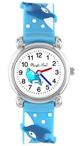 Pacific Time Kinder-Armbanduhr Delfin Delphin Analog Quarz blau 20349