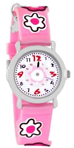 Pacific Time Kinder-Armbanduhr Blumen Anhaenger Analog Quarz pink 20443